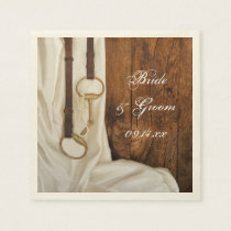White Satin and Horse Bit Country Western Wedding Paper Napkins