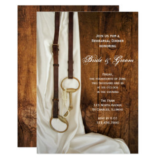 White Satin and Horse Bit Wedding Rehearsal Dinner Card