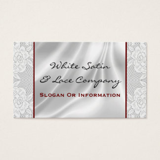 White Satin And Lace Business Cards