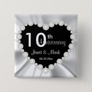 White Satin DIY Anniversary Wedding Button