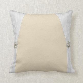 White Satin Drape tan Throw Pillow