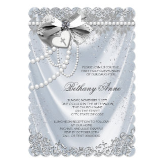 White Satin First Communion Card