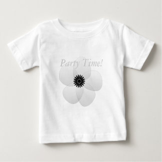 White Satin Flower Party Holiday Baby T-Shirt