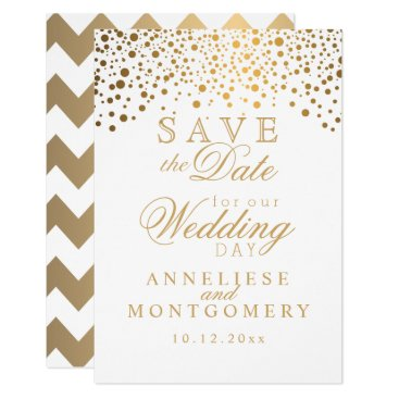 Bride Themed White Satin & Gold Confetti Dots Save the Date Card