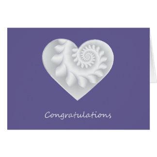 White Satin Heart Card