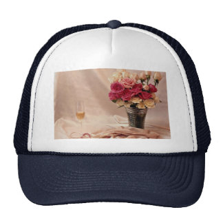 White satin, pink pearls, pink and white bouquet trucker hat