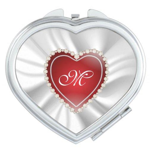 white satin red diamond heart monogram makeup mirrors
