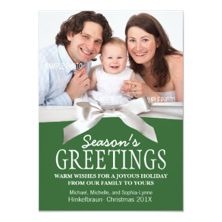 White Satin Ribbon and Green with Christmas Photo Card