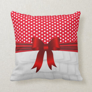 White Satin Ruffle and Red Bow with Polka Dots Throw Pillow