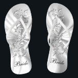 "White Satin &amp; Silver Ornate Design | Bride Flip Flops<br><div class=""desc"">Flip Flop Shoes. ⭐This Product is 100% Customizable. Graphics and text can be deleted, moved, resized, changed around, rotated, etc... 99% of my designs in my store are done in layers. This makes it easy for you to resize and move the graphics and text around so that it will fit...</div>"