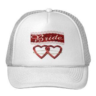 White Satin Wedding Set Bride Hat