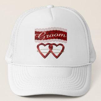 White Satin Wedding Set Trucker Hat