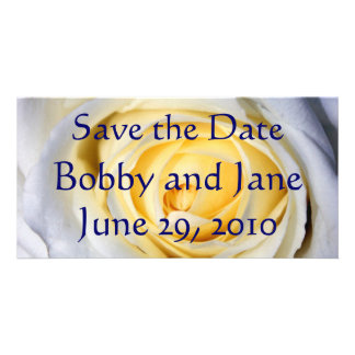 White Save the Date Card