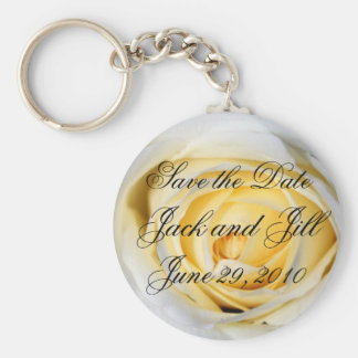 White Save the Date Basic Round Button Keychain
