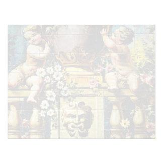 white Scene with cherubs, Santa Ana Square, Madrid Custom Letterhead