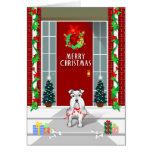 White Schnauzer Dog Merry Christmas Holiday Card