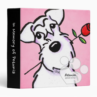 White Schnauzer Girl Pink Pet Name Keepsake Album 3 Ring Binder