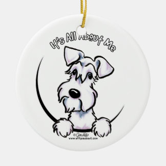 White Schnauzer IAAM Ceramic Ornament