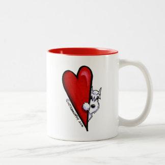 White Schnauzer Love Two-Tone Coffee Mug