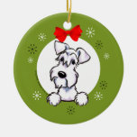White Schnauzer Natural Ears Christmas Classic Double-Sided Ceramic Round Christmas Ornament