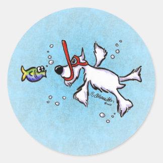 White Schnauzer Snorkeling Under Blue Sea Classic Round Sticker