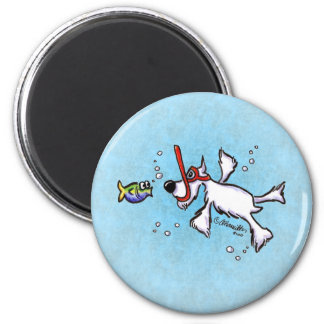White Schnauzer Snorkeling Under Blue Sea Refrigerator Magnet