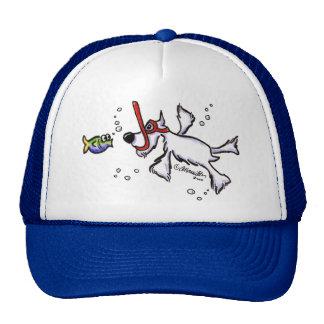White Schnauzer Snorkeling Under Blue Sea Trucker Hat