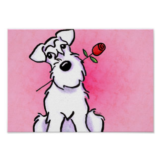 White Schnauzer Sweetheart Pink Off-Leash Art™ Poster