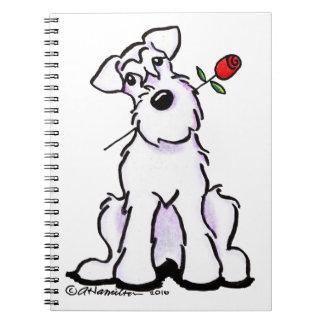 White Schnauzer Sweetheart Rose Spiral Notebook