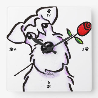 White Schnauzer Sweetheart Rose Square Wall Clock