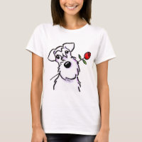 White Schnauzer Sweetheart Rose T-Shirt