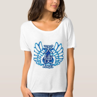 White scoop neck Tshirt with Angel wording