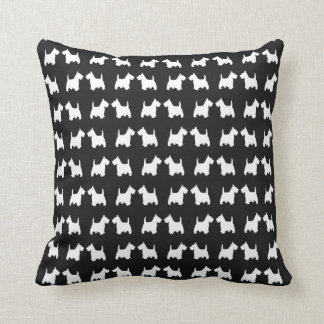 White Scottie Dog Twin Silhouettes Animal Pattern Throw Pillow