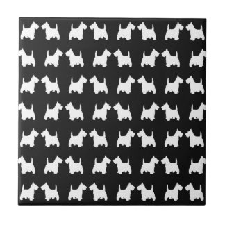 White Scottie Dog Twin Silhouettes Tile Pattern