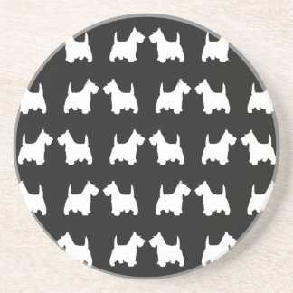 White Scottie Dog Twin Silhouettes Tile Pattern Coaster