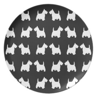 White Scottie Dog Twin Silhouettes Tile Pattern Plate