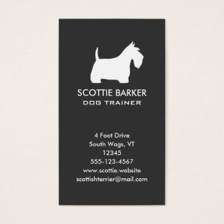White Scottish Terrier Silhouette Business Card