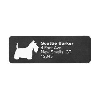White Scottish Terrier Silhouette Label
