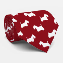 White Scottish Terrier Silhouettes Pattern Red Tie