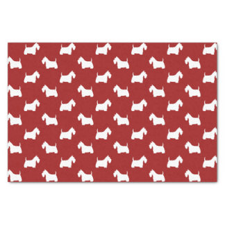 White Scottish Terrier Silhouettes Pattern Red Tissue Paper