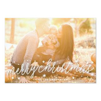 White Script Big Photo Merry Christmas Card