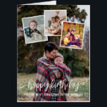 """White Script Happy Birthday Photo Collage Huge Card<br><div class=""""desc"""">Huge birthday card printed with four of your own photos in a collage. As an overlay,  a charming script in white saying happy birthday and,  beneath,  you can add whose birthday it is. Perfect for parents and grandparents' birthdays.</div>"""