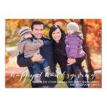"White Script Happy Thanksgiving Photo Card 5"" X 7"" Invitation Card"
