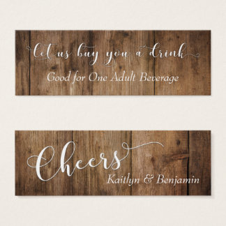 White Script on Brown Rustic Wood Drink Tickets