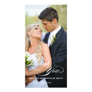 WHITE SCRIPT OVERLAY WEDDING THANK YOU PHOTO CARD