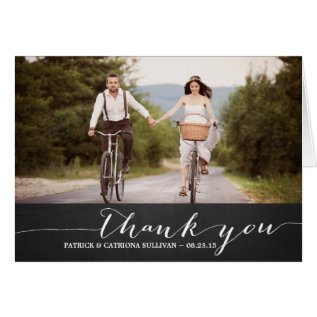 White Script Rustic Wedding Thank You Card at Zazzle