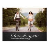 White Script Rustic Wedding Thank You Postcard