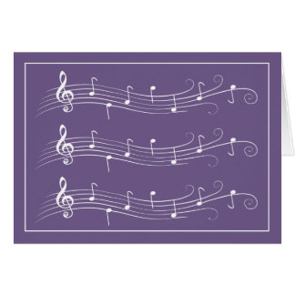 White Scrolled Music Staffs on Purple Note Card