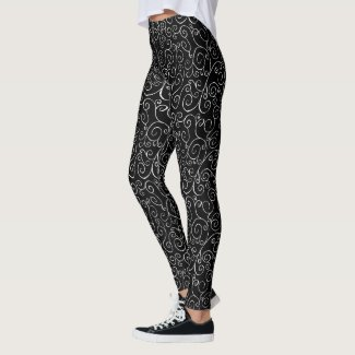 White Scrolling Curves on Black Abstract Pattern Leggings