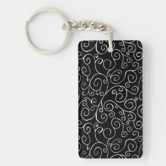 White Scrolling Curves on Black Double-Sided Rectangular Acrylic Keychain